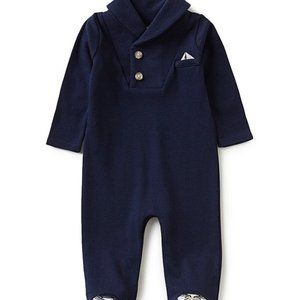 Edgehill Collection Baby Boy Shawl Footed Coverall